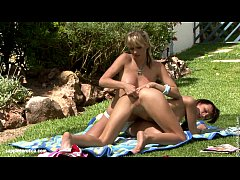 Lesbians with perfect tits have some outdoors f...