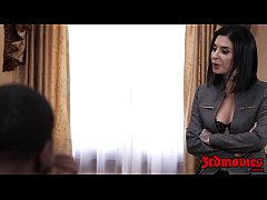 Succubus Joanna Angel eats BBC load after group...
