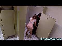 Housewife big facial in restaurant restroom