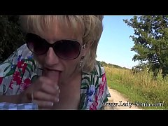 UK MILF Sonia shows her tits in public, and sucks dick on side road