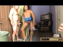 Interracial bukkake with a horny sexy ebony 12