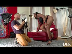 Incredibly hot busty black goddess Maserati suc...