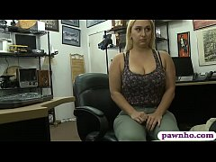 Big butt and big boobs blondie woman gets nailed by pawn keeper inside his office