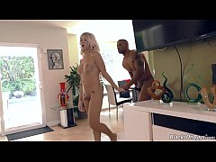 Blonde tranny Aubrey Kate gets fucked by a blac...