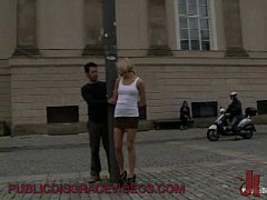 Blonde babe fucked on different places outdoor in bondage