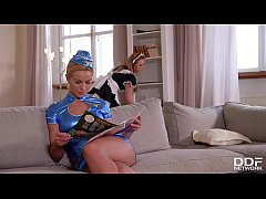 Busty stewardess Cherry Kiss licks hot maid Emily Thorne's wet pussy in 69