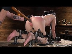 Blindfolded and chained sub gets caned