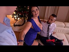 Hot Xmas threesome makes busty Anissa Jolie swallow & ride two big dicks GP385