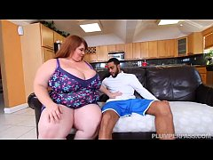 Sexy SSBBW Lexxi Luxe Feeds Stallion Breakfast and Boobs
