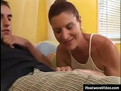 Fit and sexy MILF seduce her friend's stepson