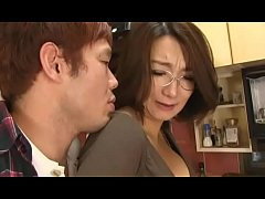 Asian mom forced suck and titfuck in kitchen