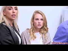 Clip sex Blonde young stepdaughter Natalie Knight and big tits stepmom Kylie Kingston caught shoplifting and banged by officer