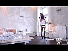 thumb ultra sexy maid and nurse give their patient a double footjob and fuck