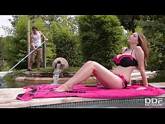 Busty Pool Goddess Lucie Wild Fucks Hard by the Pool