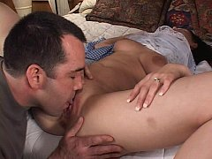 Brunette downing big cock and riding