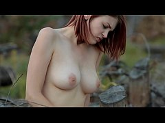 Naked girl masturbate in forest