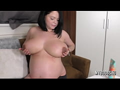 Pregnant Busty MILF Shione Cooper oiled her huge tits and dark nipples