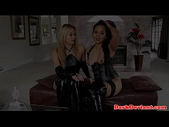 Booted femdom lesbian pleasured by asian sub