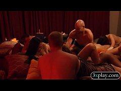 Group of couples massive orgy in the bedroom of...