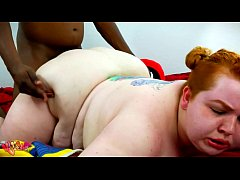 Black guy Fucks plump young ginger hard from be...