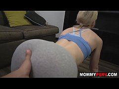 Hot mom working out and fucking her step son