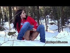 Desperate pee babes want to release their piss streams even in snowy winter