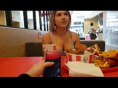 KFC public lush control and creampie in the bathroom