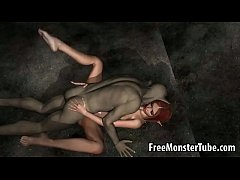 3D elf babe sucks cock and gets fucked by a goblin