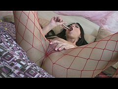 Babe in sexy lingerie masturbation on the bed