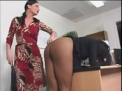 Dirty black slut Caren Caan is punished by her mistress Ariel X then fucked by white dude