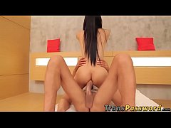 Asian shemale banged with 12inch dick up in her hole