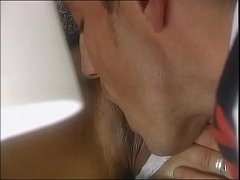 A man licks the pussy of a customer under the table in a restaurant