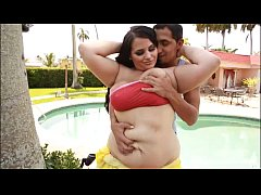 thumb busty brunette plump babe emma bailey bangs stud by the pool
