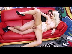 Blonde dirty slut spread legs for first stranger who want fuck her pussy