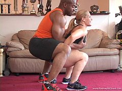 Black Man workout white girl