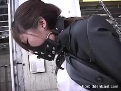 Submissive Japanese Business Woman In Leather B...
