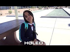 HOLED Big dick shoved in petite school girl Hol...