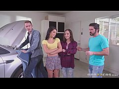 Brazzers - Step sisters share cock behind dads back