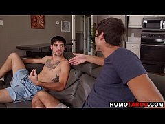 Gay brothers fuck bareback when parents are out