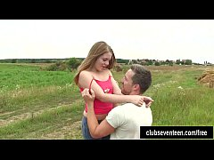 Cute teen Alessadra gets pussy fucked outdoors