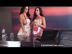 2 BIG TITTY girls Ava Addams and Catalina Cruz in the kitchen