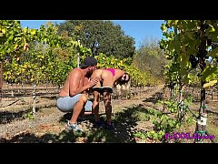 Outside vineyard sex with busty babe