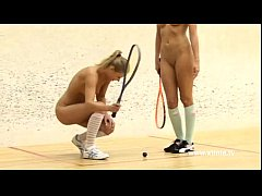Young lesbians tennis players, playing with racket and pussy