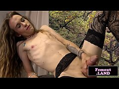 Skinny inked femboy cleaning her pipes