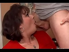 Thick mom with big tits has her shaved pussy pounded and face covered in cum