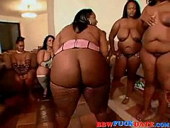 Large group of fat black women and horny men ge...