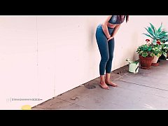 Asian Tina Piss's wets her Tights from after Desperate to Pee TRAILER