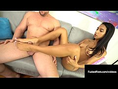 Lucky John Gets Foot Fucked By Cute Brown Babe ...