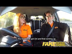 Fake Driving School Nerdy ginger teen fucked to...