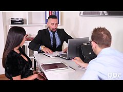 Meeting and mating at the office makes Alyssia Kent ride two massive cocks